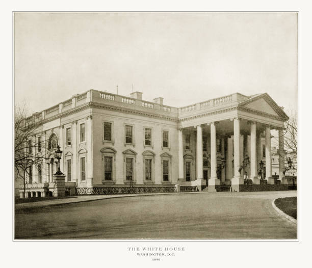 The White House, Washington, D.C., United States, Antique American Photograph, 1893 Antique American Photograph: The White House, Washington, D.C., United States, 1893: Original edition from my own archives. Copyright has expired on this artwork. Digitally restored. 1890 stock pictures, royalty-free photos & images