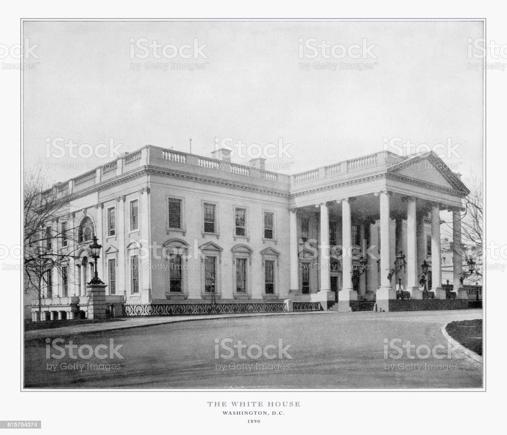 The White House, Washington, D.C., United States, Antique American Photograph, 1893 stock photo