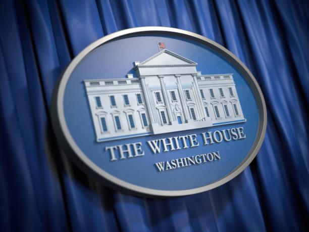 The White House Washington sign on blue background stock photo