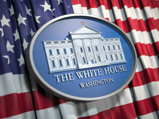 The White House Washington sign on flag of United States USA. The White House Washington sign on flag of United States USA. 3d illustration inauguration stock pictures, royalty-free photos & images