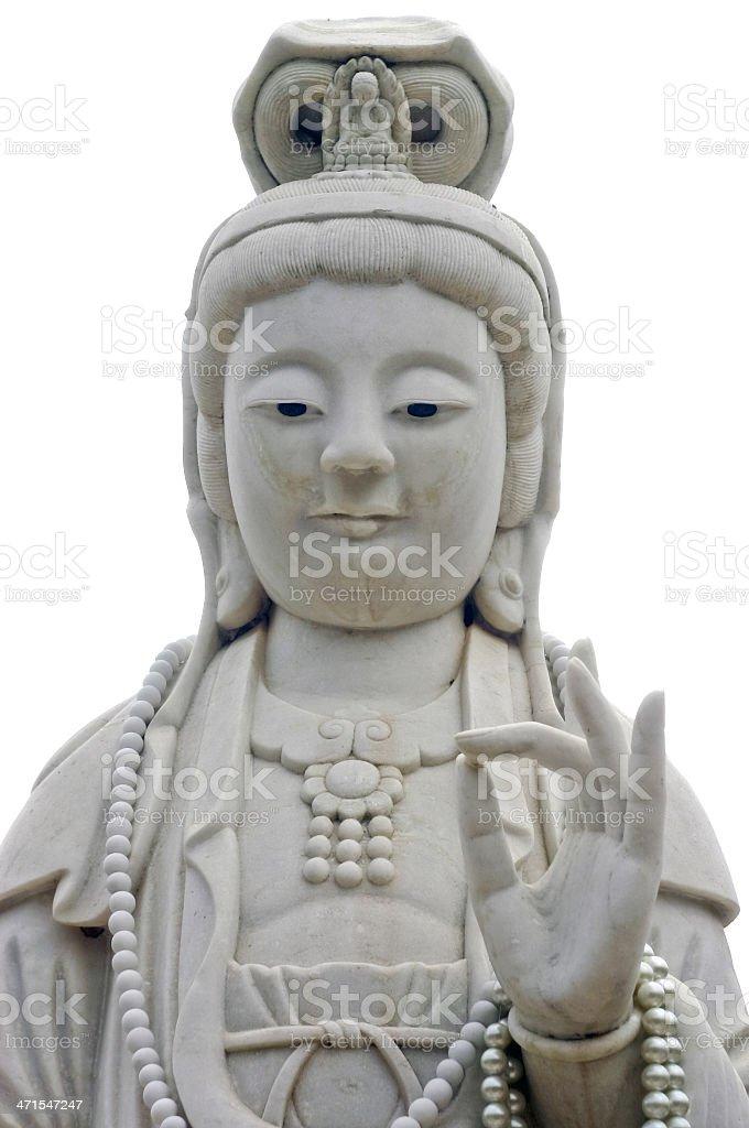 The white jade Guan Yin image of buddha Chinese art. royalty-free stock photo