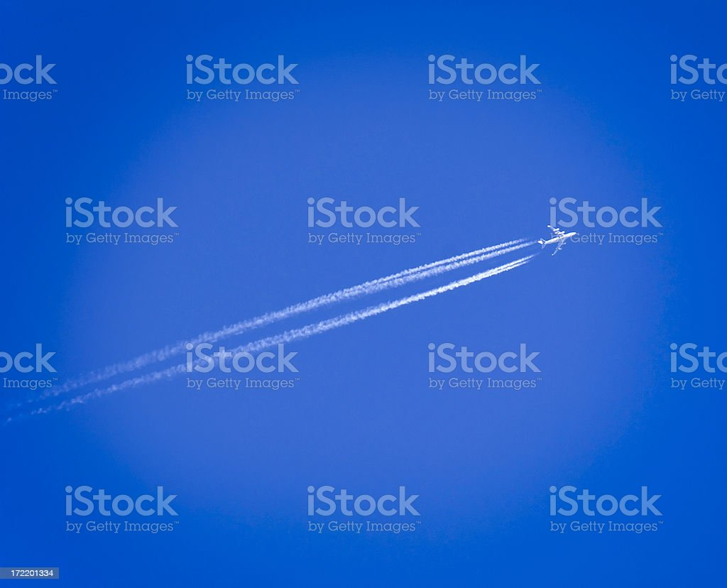 The white Jet vapor trail of the airplane royalty-free stock photo