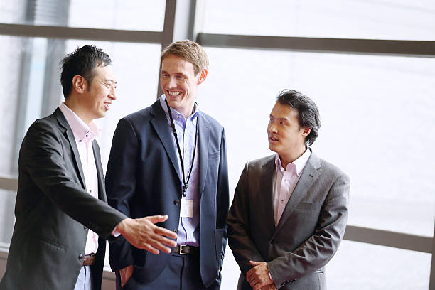 The white man who talks for international business ストックフォト