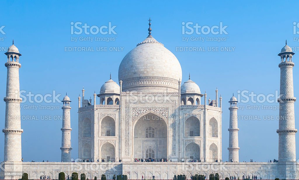 The white marble Taj Mahal mausoleum in Agra. royalty-free stock photo