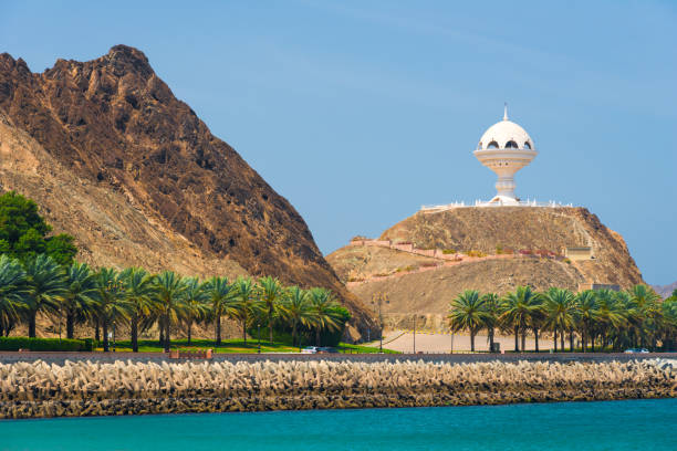The white Riyam Incense at the Al Bahri Road in Muscat, capital of Oman stock photo