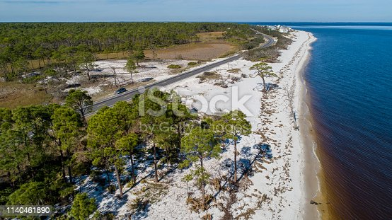 The white sand dunes and pine forest on the Atlantic coast at Alligator Point, Panacea, North Florida. Aerial drone photo.