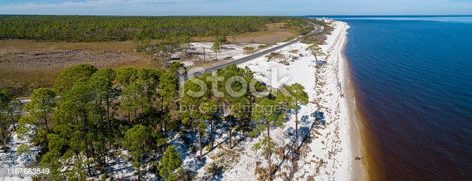 The white sand dunes and pine forest on the Atlantic coast at Alligator Point, Panacea, North Florida. Aerial drone photo. Extra-large stitched panorama.