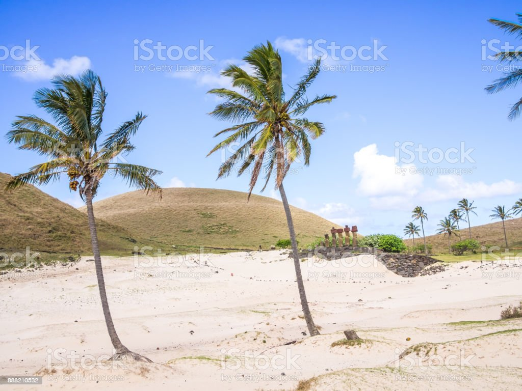 The white Sand in the Anakena beach stock photo