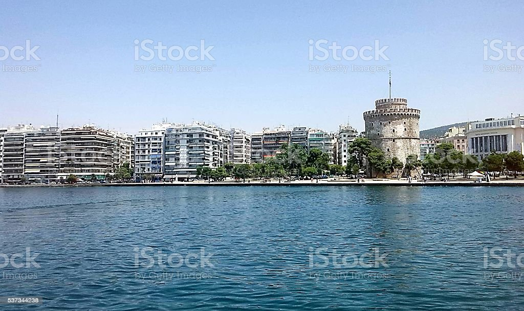 The white tower at Thessaloniki stock photo