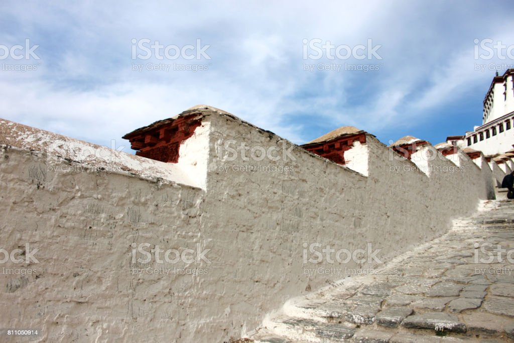 the white wall of the Potala Palace stock photo