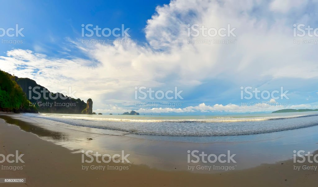 The whole Ao Nang bay early in the morning stock photo