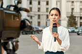 istock The whole truth and nothing but the truth. TV reporter presenting the news outdoors. Journalism industry, live streaming concept. 1187643614