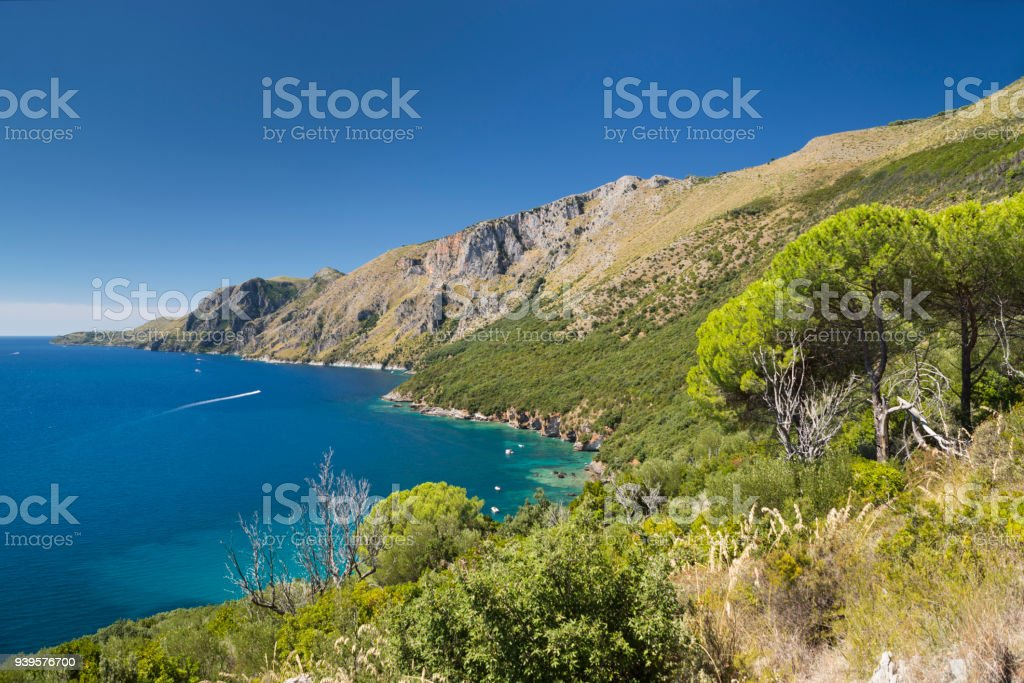 The wild coast Costa di Masseta between Scario and Marina di Camerota in southern Cilento, Campania, Italy stock photo