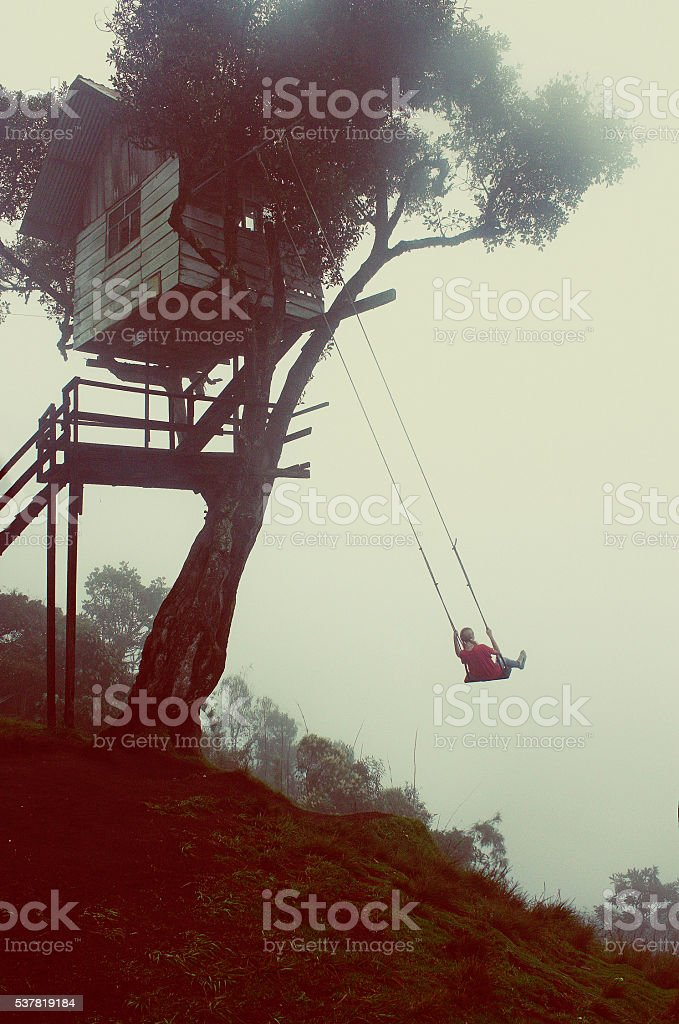 The Wildest Swing At Casa Del Arbol, Tree House stock photo