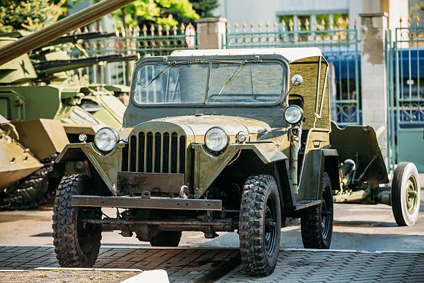 The Willys MB (Jeep,  U.S. Army Truck, 4x4) Gomel, Belarus - May 9, 2015: The Willys MB (Jeep,  U.S. Army Truck, 4x4) was a four-wheel drive utility vehicle. Minsk, Belarus. Exposure Of Weapons And Equipment In The Belarusian Museum Of The Great Patriotic War. willys stock pictures, royalty-free photos & images