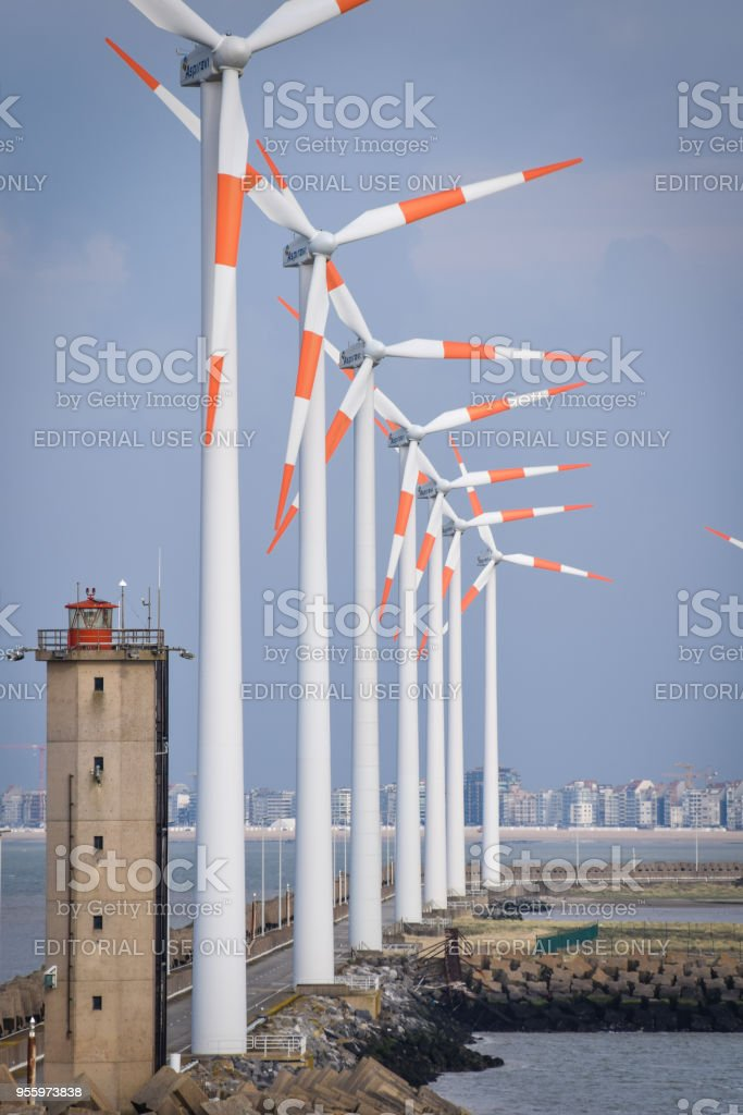 The Wind turbines at the edge of Zeebrugge Docks stock photo