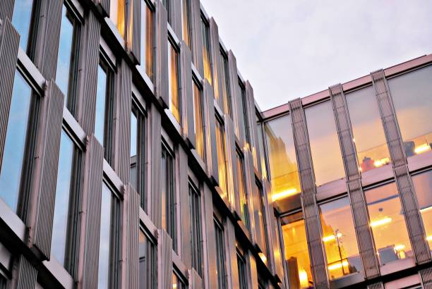 The windows of a modern building for offices. Business buildings architecture. stock photo