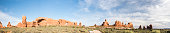 Large panoramic of the Windows trailhead in Arches National Park Moab