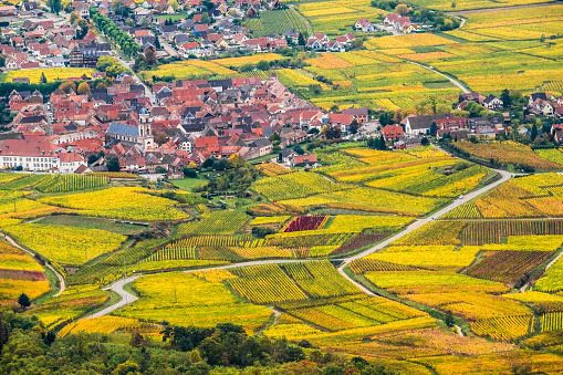 The wine-making village of Orschwiller, Bas-Rhin, Alsace, France,  just west of Sélestat. Perched on a rocky spuroverlooking the Upper Rhine Plain.