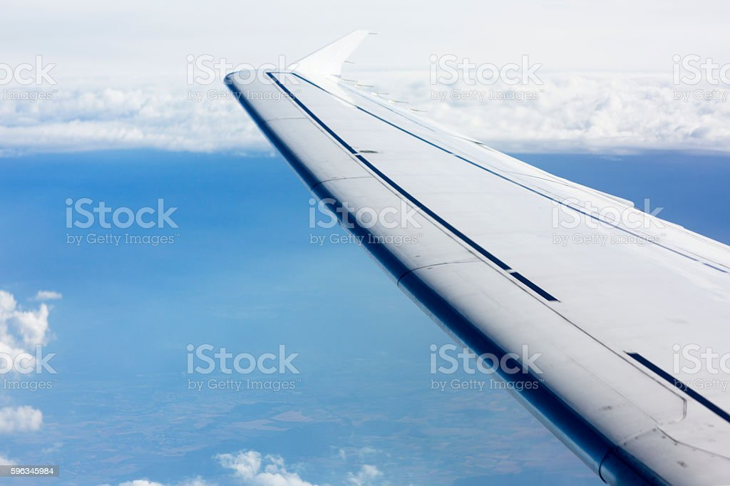 The wing of the plane on sky background. royalty-free stock photo
