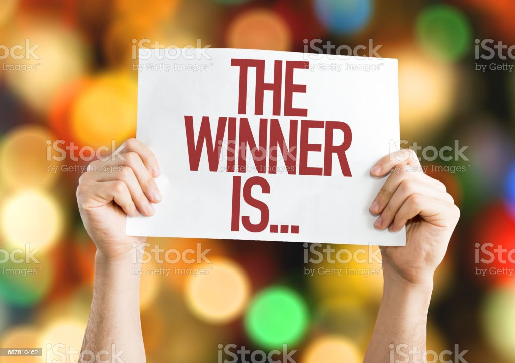 The Winner Is... placard stock photo
