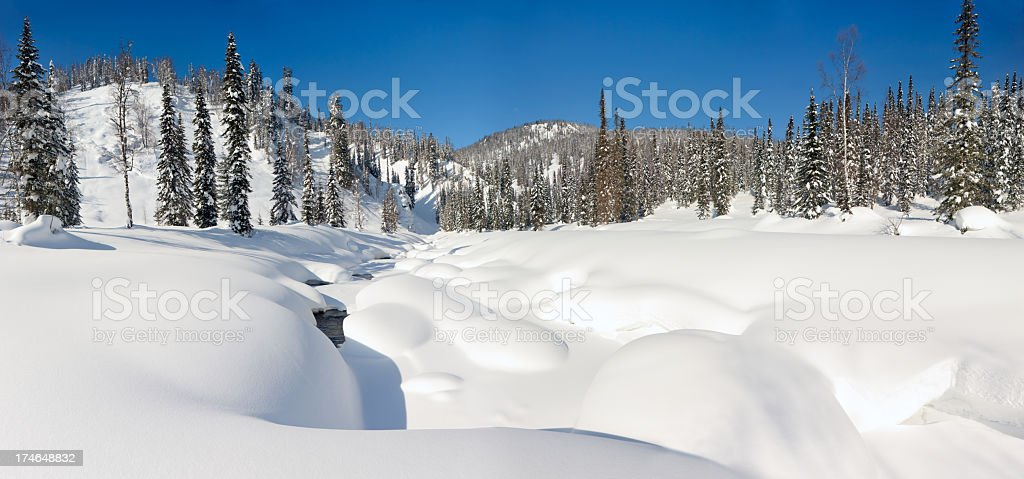 The winter creek  panorama. royalty-free stock photo
