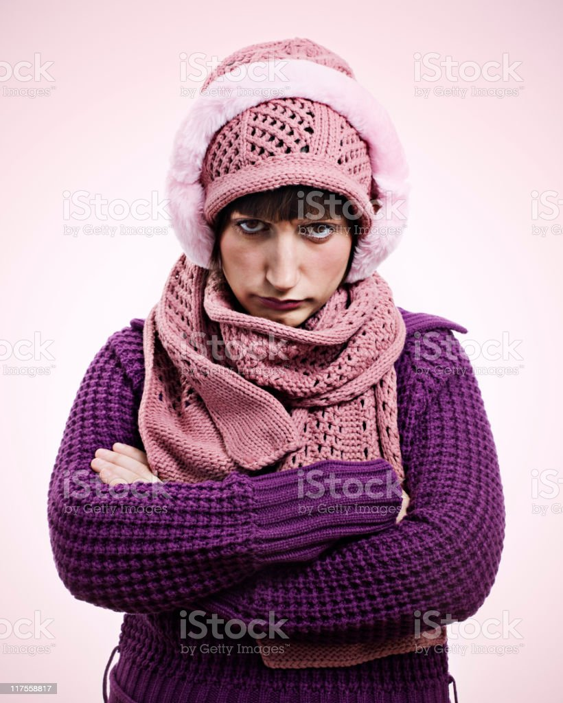 The winter grumpy royalty-free stock photo