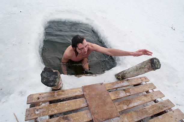 The winter swimming stock photo