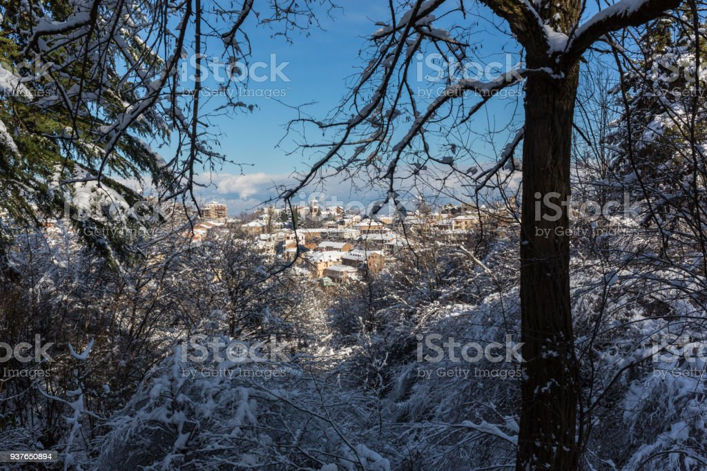 The winter view of Sighnaghi Signagi old town at winter in Kakheti region, Georgia stock photo