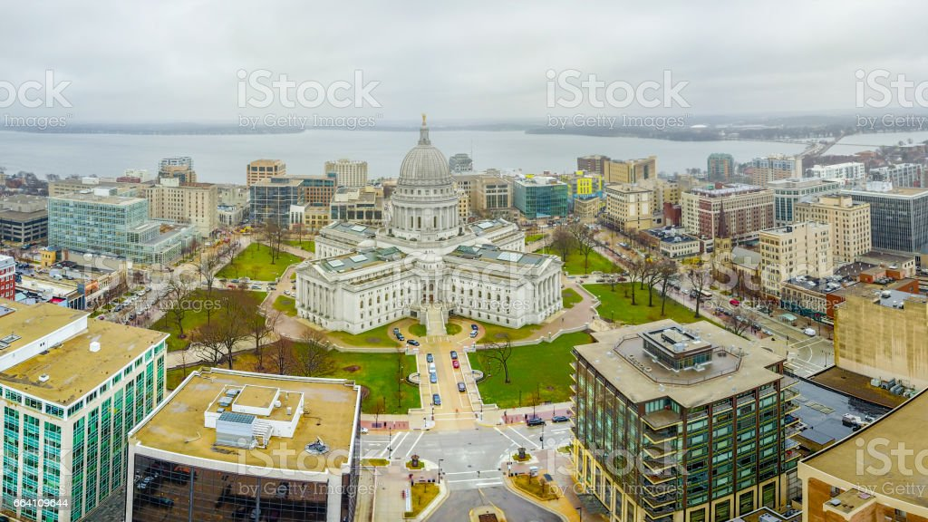 The Wisconsin State Capital at Madison stock photo
