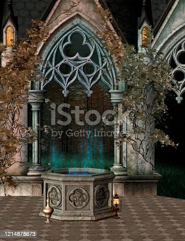 914134406 istock photo The wishing well with a gothic doorway 1214878673