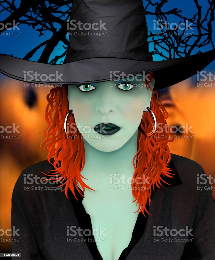 The Witch Sorcerer Enchantress Halloween Witchcraft stock photo