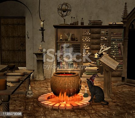 Wizard old room with a black cat watching after the spell cauldron – 3D illustration