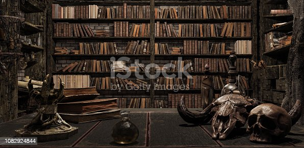 the wizard's room with library, old books, potion, and scary things 3d render 3d illustration