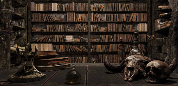 the wizard's room with library, old books, potion, and scary things 3d render - upiorny zdjęcia i obrazy z banku zdjęć