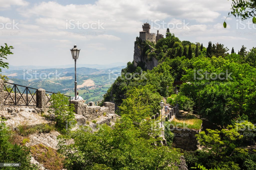 The woll of Guaita fortress is the oldest and the most famous tower on San Marino. stock photo