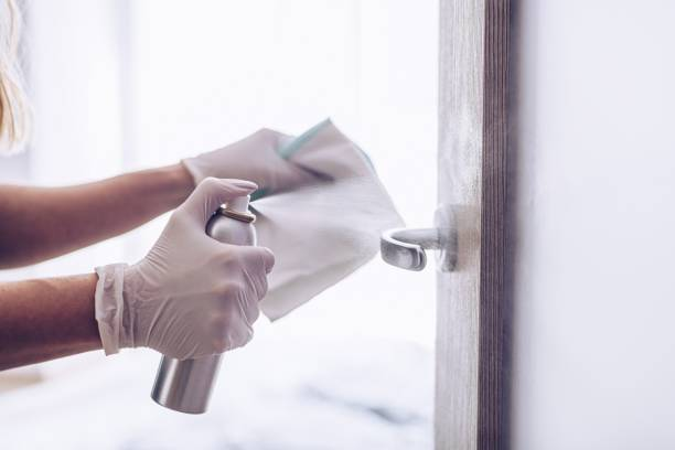 The woman disinfects the door handle with a disinfectant liquid. stock photo