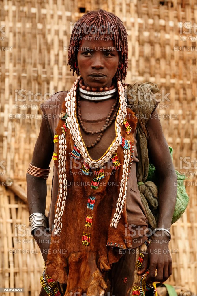 The woman from Hamer people stock photo