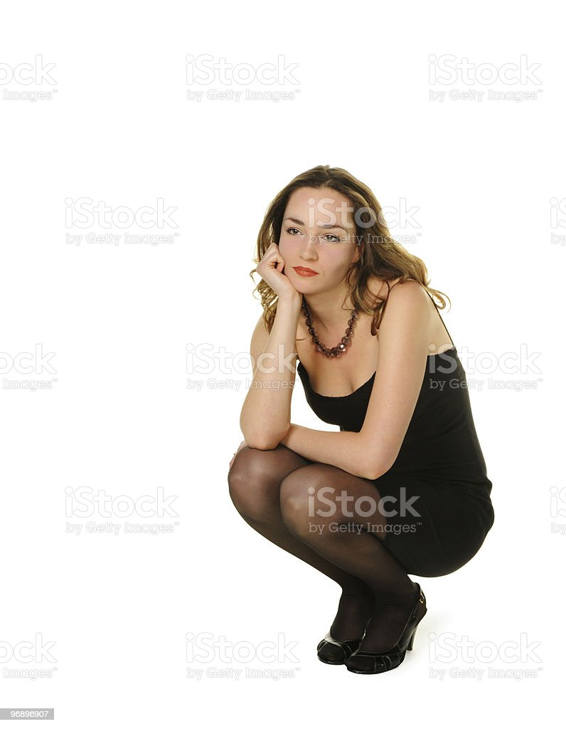 The woman in a black dress. royalty-free stock photo