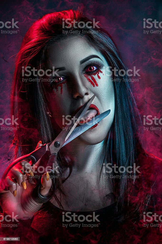 The woman in an image of the monster on a stock photo