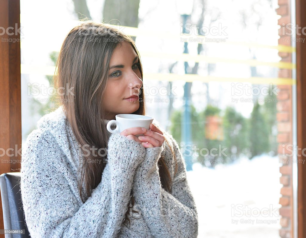The woman in cafe stock photo