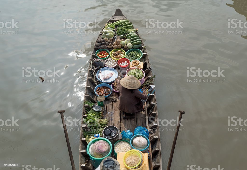 the woman in floating market Cai Rang, Can Tho stock photo