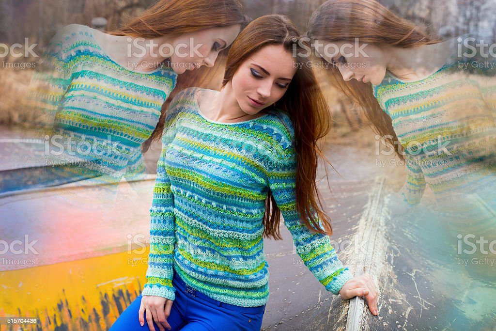 The woman in thoughts, a split personality, astral travel, reincarnation stock photo
