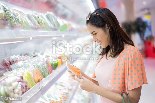 istock The woman is in the supermarket. Are shopping for food 1057083314