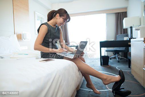 istock The woman is on a business trip. 642143032