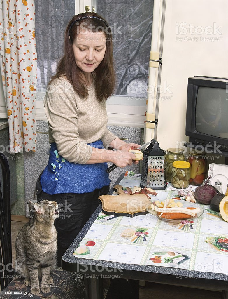 The woman makes a dinner royalty-free stock photo