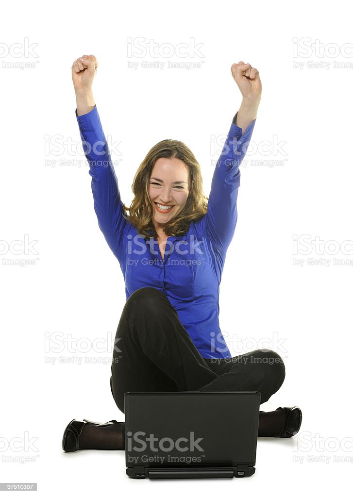 The woman sits before laptop royalty-free stock photo