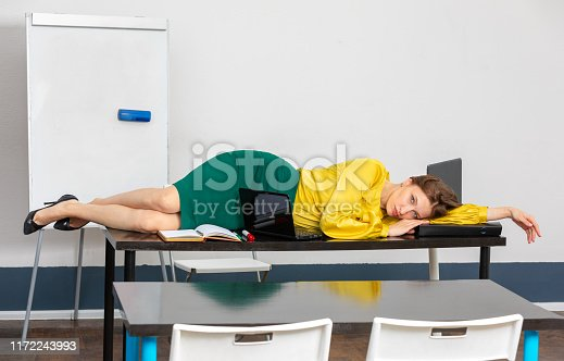 508126619istockphoto the woman teacher is tired 1172243993