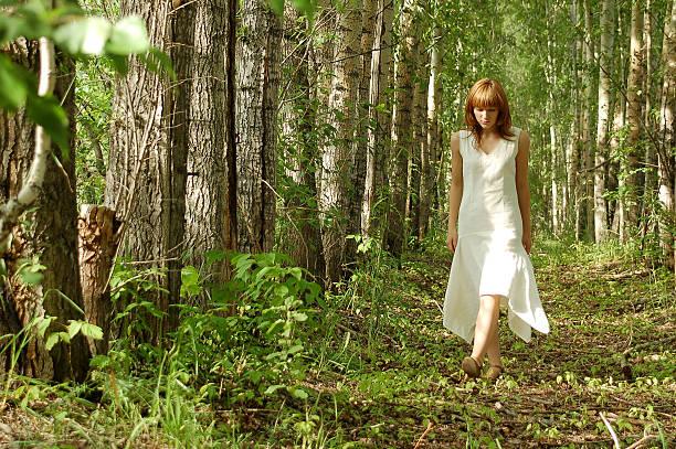 la donna cammina in legno - forest bathing foto e immagini stock