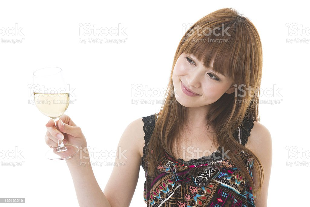 The woman who drinks wine royalty-free stock photo